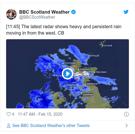 Twitter post by @BBCScotWeather: [11 45] The latest radar shows heavy and persistent rain moving in from the west. CB