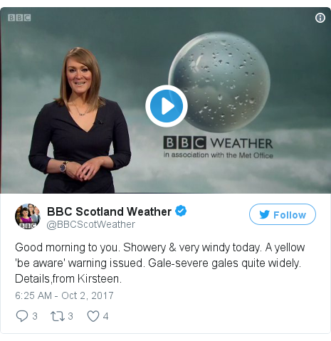 Twitter post by @BBCScotWeather: Good morning to you. Showery & very windy today. A yellow 'be aware' warning issued. Gale-severe gales quite widely. Details,from Kirsteen. pic.twitter.com/dONDNkqiFp