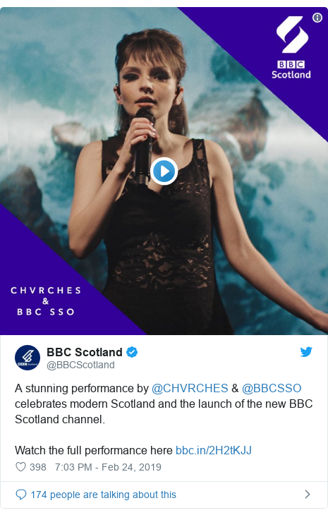 Twitter post by @BBCScotland: A stunning performance by @CHVRCHES & @BBCSSO celebrates modern Scotland and the launch of the new BBC Scotland channel.Watch the full performance here