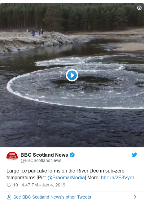 Twitter post by @BBCScotlandNews: Large ice pancake forms on the River Dee in sub-zero temperatures [Pic  @BraemarMedia] More