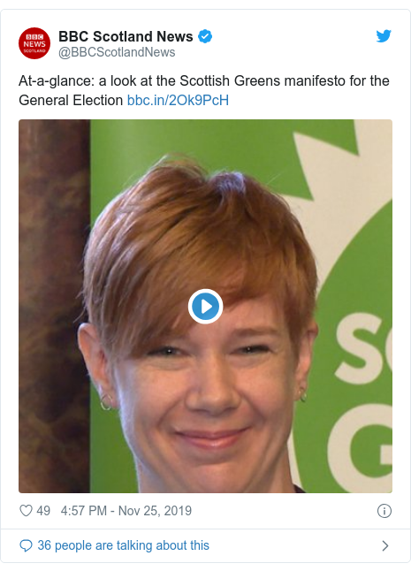 Twitter post by @BBCScotlandNews: At-a-glance  a look at the Scottish Greens manifesto for the General Election