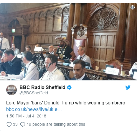 Twitter post by @BBCSheffield: Lord Mayor 'bans' Donald Trump while wearing sombrero