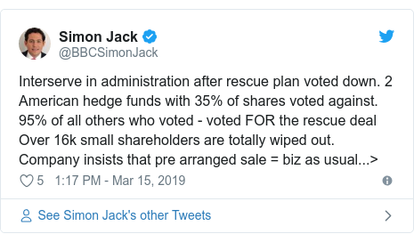 Twitter post by @BBCSimonJack: Interserve in administration after rescue plan voted down. 2 American hedge funds with 35% of shares voted against. 95% of all others who voted - voted FOR the rescue deal Over 16k small shareholders are totally wiped out. Company insists that pre arranged sale = biz as usual...>