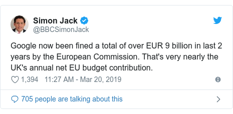 Twitter post by @BBCSimonJack: Google now been fined a total of over EUR 9 billion in last 2 years by the European Commission. That's very nearly the UK's annual net EU budget contribution.