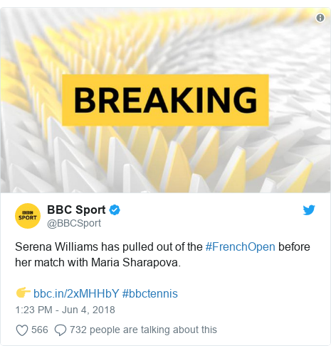 Twitter post by @BBCSport: Serena Williams has pulled out of the #FrenchOpen before her match with Maria Sharapova.👉  #bbctennis