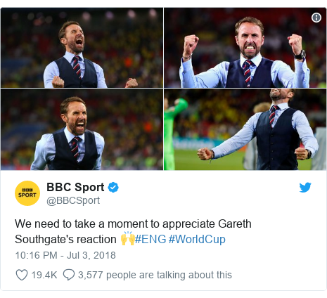 Twitter post by @BBCSport: We need to take a moment to appreciate Gareth Southgate's reaction 🙌#ENG #WorldCup