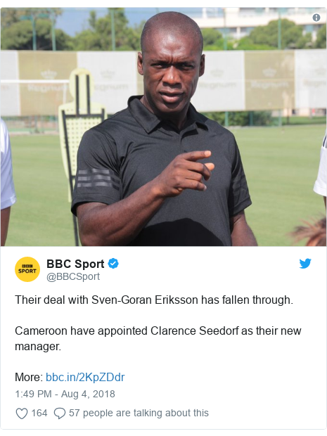 Twitter post by @BBCSport: Their deal with Sven-Goran Eriksson has fallen through.Cameroon have appointed Clarence Seedorf as their new manager.More