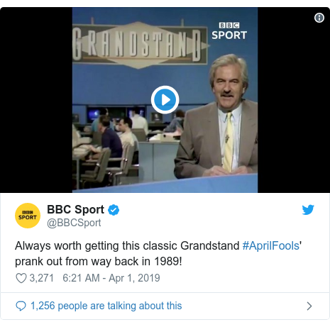 Twitter post by @BBCSport: Always worth getting this classic Grandstand #AprilFools' prank out from way back in 1989!