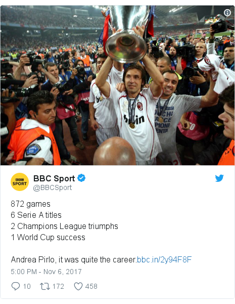 Twitter post by @BBCSport: 872 games6 Serie A titles2 Champions League triumphs1 World Cup successAndrea Pirlo, it was quite the career.
