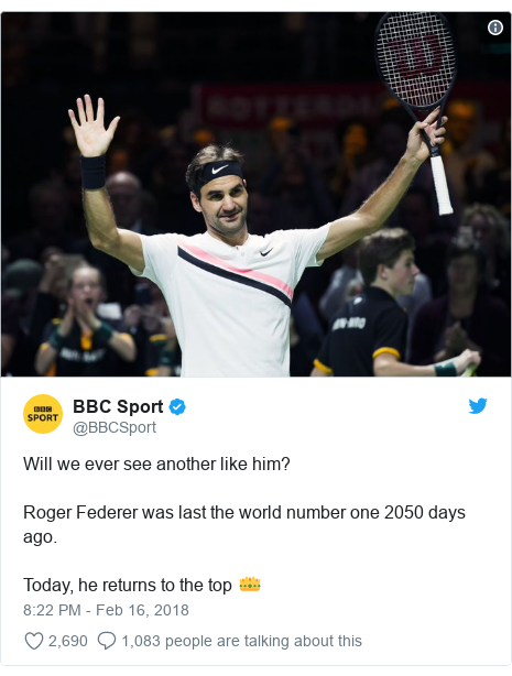 Twitter post by @BBCSport: Will we ever see another like him?Roger Federer was last the world number one 2050 days ago.Today, he returns to the top 👑