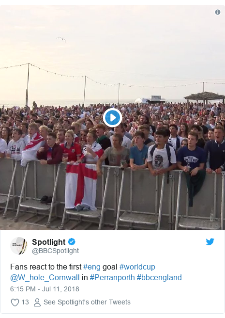 Twitter post by @BBCSpotlight: Fans react to the first #eng goal #worldcup @W_hole_Cornwall in #Perranporth #bbcengland