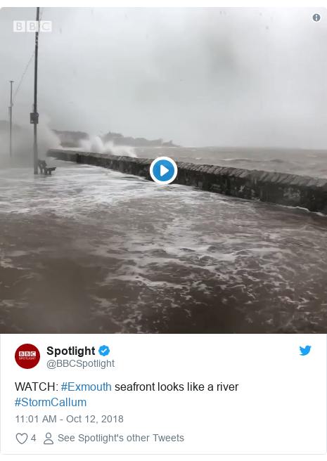 Twitter post by @BBCSpotlight: WATCH  #Exmouth seafront looks like a river #StormCallum