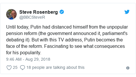 Twitter post by @BBCSteveR: Until today, Putin had distanced himself from the unpopular pension reform (the government announced it, parliament's debating it). But with this TV address, Putin becomes the face of the reform. Fascinating to see what consequences for his popularity.