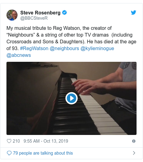 "Twitter post by @BBCSteveR: My musical tribute to Reg Watson, the creator of ""Neighbours"" & a string of other top TV dramas  (including Crossroads and Sons & Daughters). He has died at the age of 93. #RegWatson @neighbours @kylieminogue @abcnews"