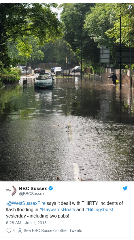 Twitter post by @BBCSussex: .@WestSussexFire says it dealt with THIRTY incidents of flash flooding in #HaywardsHeath and #Billingshurst yesterday - including two pubs!