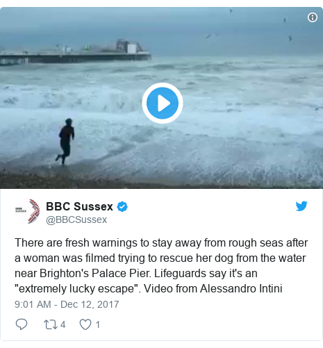 """Twitter post by @BBCSussex: There are fresh warnings to stay away from rough seas after a woman was filmed trying to rescue her dog from the water near Brighton's Palace Pier. Lifeguards say it's an """"extremely lucky escape"""". Video from Alessandro Intini"""