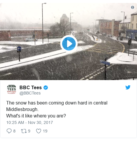 Twitter post by @BBCTees: The snow has been coming down hard in central Middlesbrough. What's it like where you are?