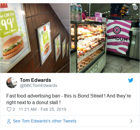 Twitter post by @BBCTomEdwards: Fast food advertising ban - this is Bond Street ! And they're right next to a donut stall !