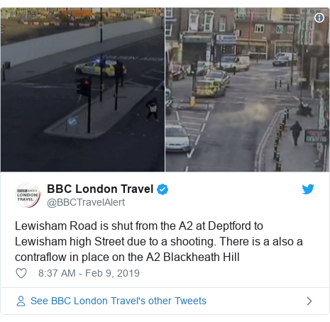 Twitter post by @BBCTravelAlert: Lewisham Road is shut from the A2 at Deptford to Lewisham high Street due to a shooting. There is a also a contraflow in place on the A2 Blackheath Hill