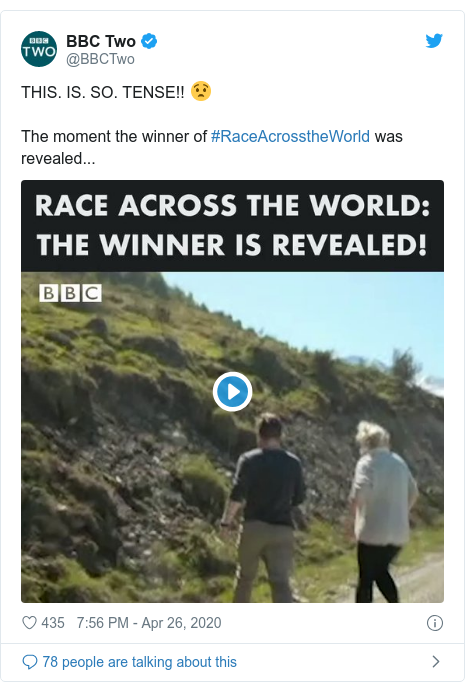 Twitter post by @BBCTwo: THIS. IS. SO. TENSE!! 😧The moment the winner of #RaceAcrosstheWorld was revealed...