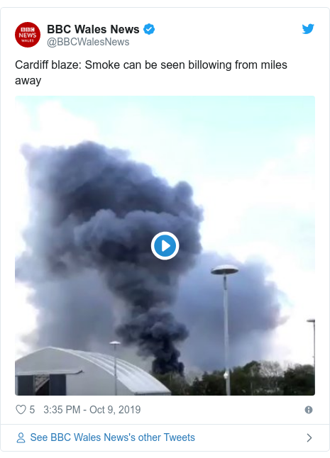 Twitter post by @BBCWalesNews: Cardiff blaze  Smoke can be seen billowing from miles away