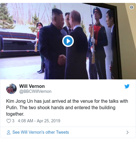 Twitter post by @BBCWillVernon: Kim Jong Un has just arrived at the venue for the talks with Putin. The two shook hands and entered the building together.