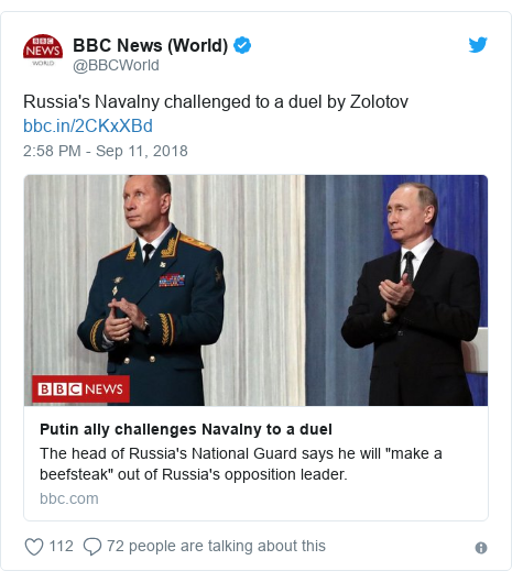 Twitter post by @BBCWorld: Russia's Navalny challenged to a duel by Zolotov