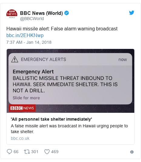 Twitter post by @BBCWorld: Hawaii missile alert  False alarm warning broadcast