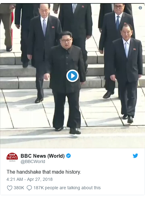 Twitter post by @BBCWorld: The handshake that made history.