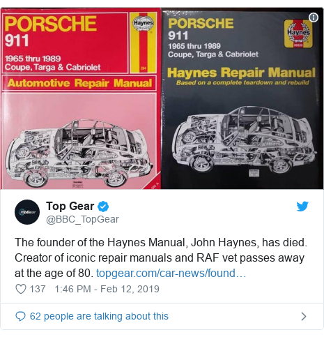 Twitter post by @BBC_TopGear: The founder of the Haynes Manual, John Haynes, has died. Creator of iconic repair manuals and RAF vet passes away at the age of 80.