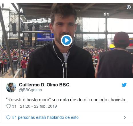 """Publicación de Twitter por @BBCgolmo: """"Resistiré hasta morir"""" se canta desde el concierto chavista."""