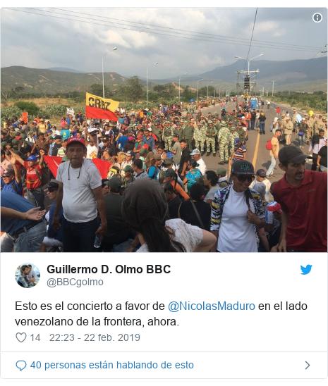Publicación de Twitter por @BBCgolmo: Esto es el concierto a favor de @NicolasMaduro en el lado venezolano de la frontera, ahora.