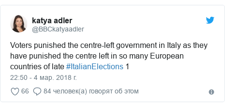 Twitter пост, автор: @BBCkatyaadler: Voters punished the centre-left government in Italy as they have punished the centre left in so many European countries of late #ItalianElections 1