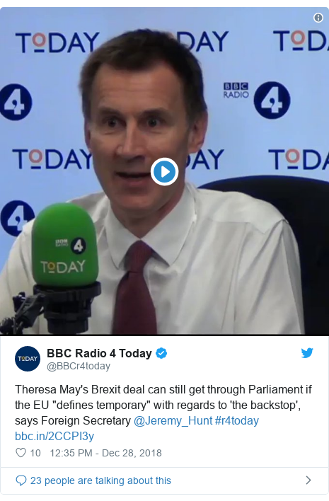 "Twitter post by @BBCr4today: Theresa May's Brexit deal can still get through Parliament if the EU ""defines temporary"" with regards to 'the backstop', says Foreign Secretary @Jeremy_Hunt #r4today"