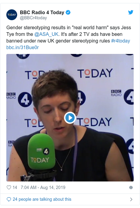 """Twitter post by @BBCr4today: Gender stereotyping results in """"real world harm"""" says Jess Tye from the @ASA_UK. It's after 2 TV ads have been banned under new UK gender stereotyping rules #r4today"""