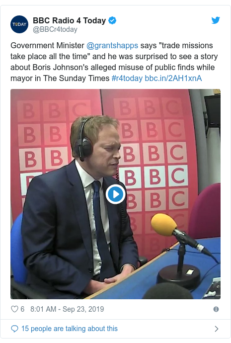 "Twitter post by @BBCr4today: Government Minister @grantshapps says ""trade missions take place all the time"" and he was surprised to see a story about Boris Johnson's alleged misuse of public finds while mayor in The Sunday Times #r4today"