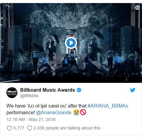 Twitter post by @BBMAs: We have 'ʎɹɔ oʇ ʇɟǝl sɹɐǝʇ ou' after that #ARIANA_BBMAs performance! @ArianaGrande 😭🚫