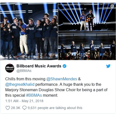 Twitter post by @BBMAs: Chills from this moving @ShawnMendes & @thegreatkhalid performance. A huge thank you to the Marjory Stoneman Douglas Show Choir for being a part of this special #BBMAs moment.