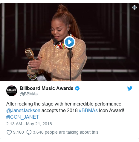 Twitter post by @BBMAs: After rocking the stage with her incredible performance, @JanetJackson accepts the 2018 #BBMAs Icon Award! #ICON_JANET