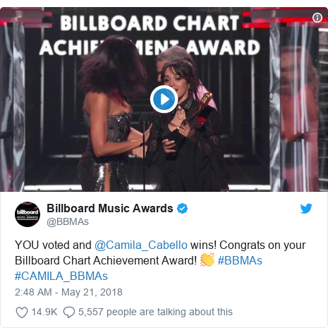 Twitter post by @BBMAs: YOU voted and @Camila_Cabello wins! Congrats on your Billboard Chart Achievement Award! 👏 #BBMAs #CAMILA_BBMAs