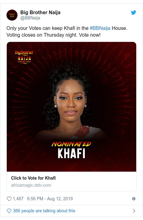 Twitter post by @BBNaija: Only your Votes can keep Khafi in the #BBNaija House. Voting closes on Thursday night. Vote now!
