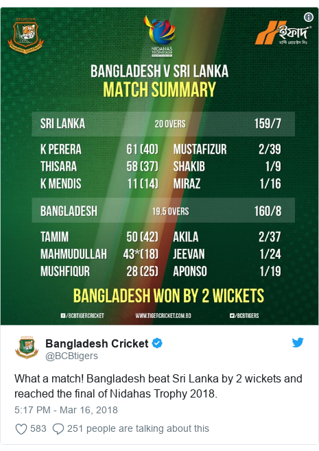 Twitter හි @BCBtigers කළ පළකිරීම: What a match! Bangladesh beat Sri Lanka by 2 wickets and reached the final of Nidahas Trophy 2018.