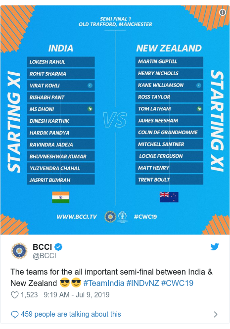 Twitter post by @BCCI: The teams for the all important semi-final between India & New Zealand 😎😎 #TeamIndia #INDvNZ #CWC19