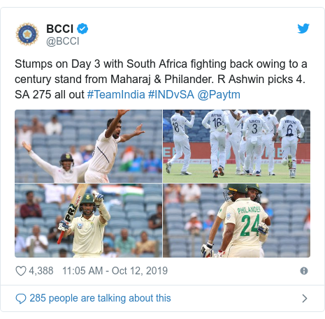 Twitter post by @BCCI: Stumps on Day 3 with South Africa fighting back owing to a century stand from Maharaj & Philander. R Ashwin picks 4. SA 275 all out #TeamIndia #INDvSA @Paytm