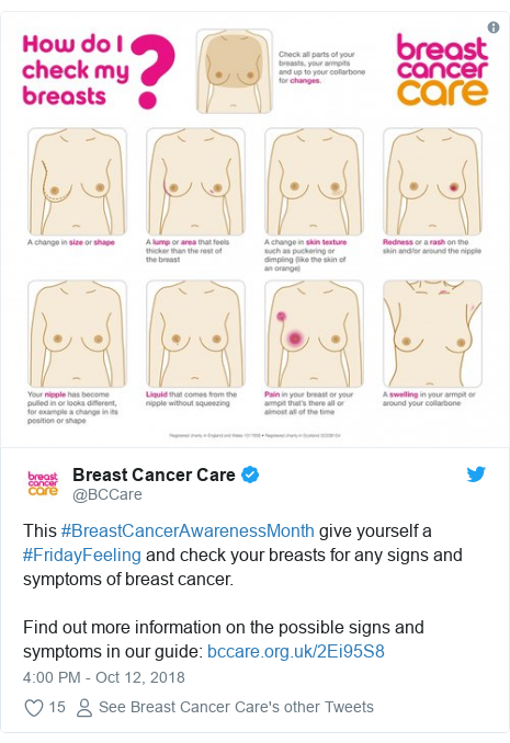 Twitter post by @BCCare: This #BreastCancerAwarenessMonth give yourself a #FridayFeeling and check your breasts for any signs and symptoms of breast cancer.Find out more information on the possible signs and symptoms in our guide