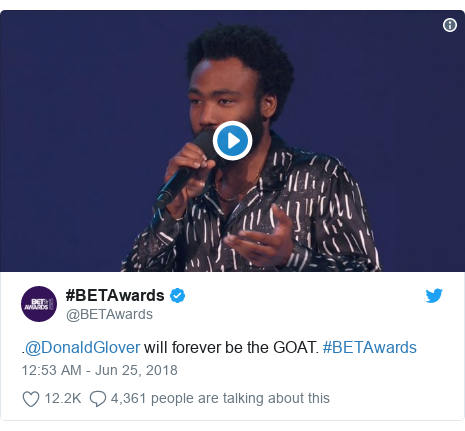 Twitter post by @BETAwards: .@DonaldGlover will forever be the GOAT. #BETAwards