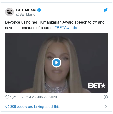 Twitter post by @BETMusic: Beyonce using her Humanitarian Award speech to try and save us, because of course. #BETAwards