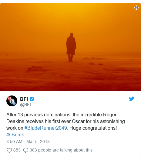 Twitter post by @BFI: After 13 previous nominations, the incredible Roger Deakins receives his first ever Oscar for his astonishing work on #BladeRunner2049. Huge congratulations! #Oscars