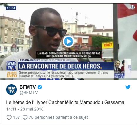 Twitter publication par @BFMTV: Le héros de l'Hyper Cacher félicite Mamoudou Gassama