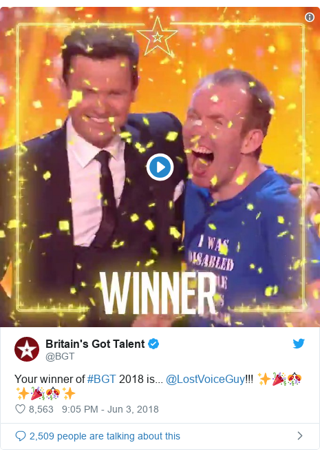 Twitter post by @BGT: Your winner of #BGT 2018 is... @LostVoiceGuy!!! ✨🎉🎊✨🎉🎊✨